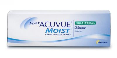 Pack of 30 lenses. 1-DAY ACUVUE ® MOIST Brand MULTIFOCAL Contact Lenses with LACREON® Technology and UV Blocking