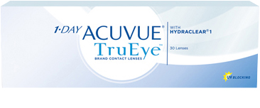 Pack of 30 1-DAY ACUVUE® TruEye® Contact Lenses with HYDRACLEAR 1 Technology and UV blocking